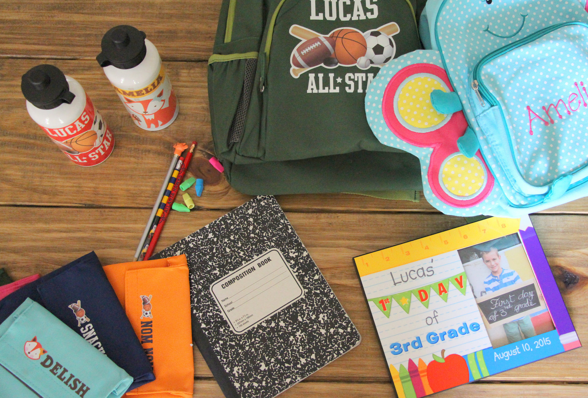 back to school snacks water bottle notebook backpack