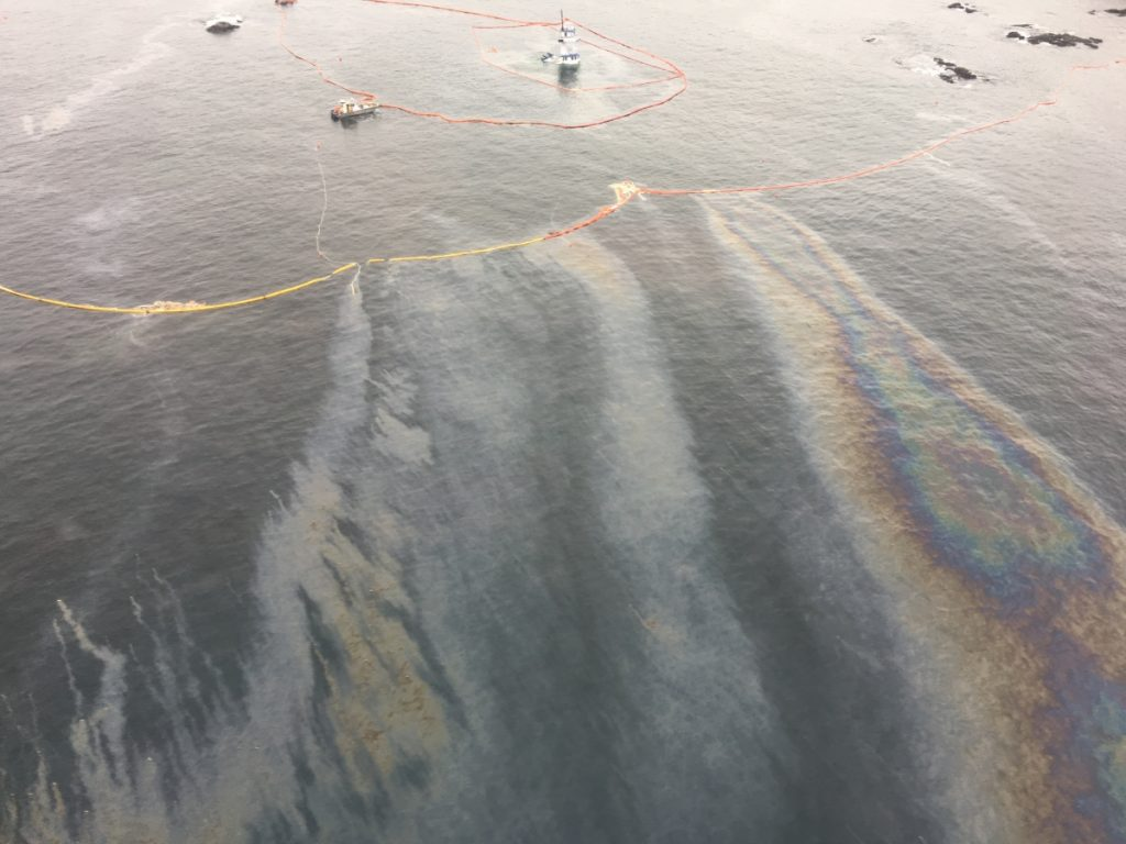 Diesel sheen breaching containment booms off the coast of Bella Bella, B.C. Photo caption: Heilstuk First Nation