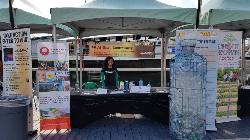 Environmental Defence booth at the June 4 Jack Johnson concert