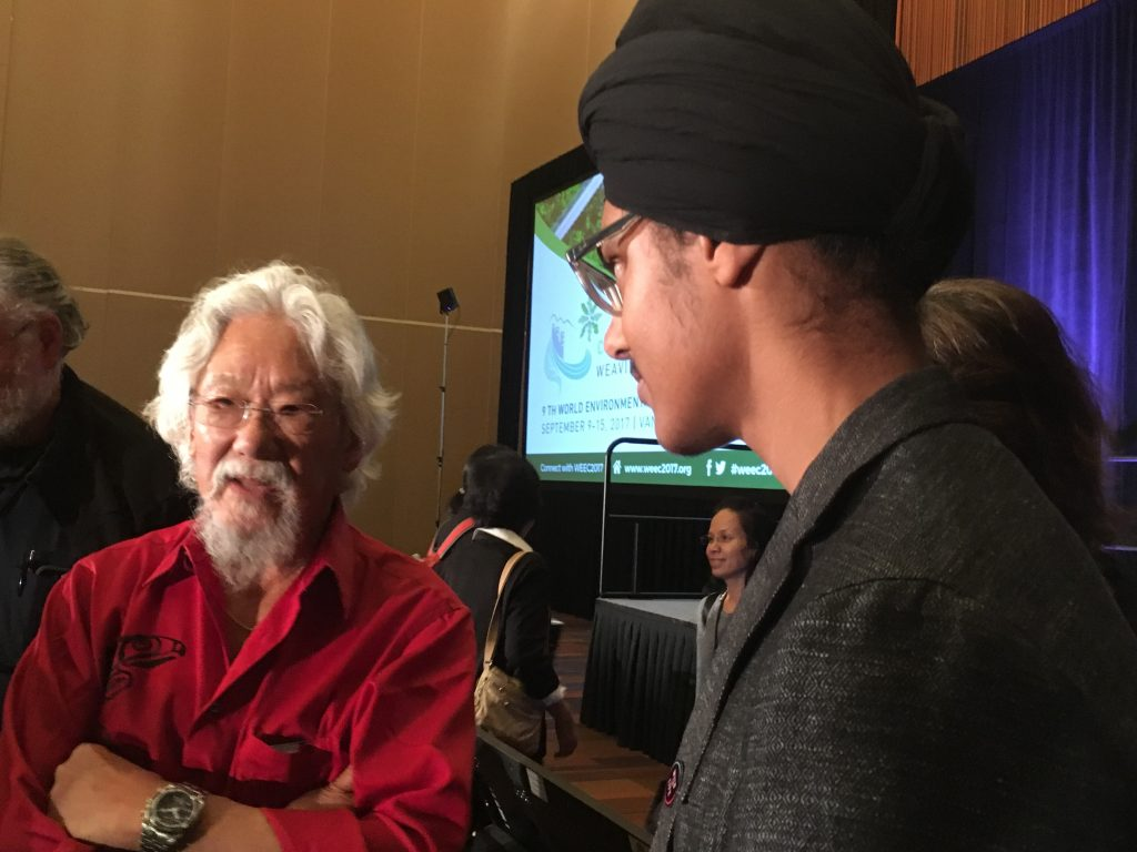 Young Reporter for the Environment Abhayjeet Sachal (right) interviews David Suzuki at the World Environmental Education Congress in Vancouver, B.C.