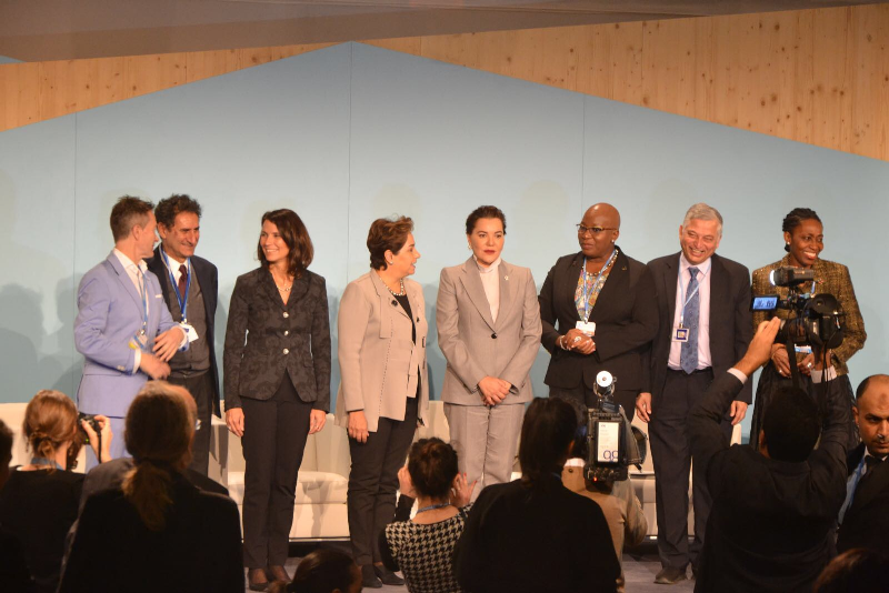 This is a high-level event on Education featuring Princess Lalla Hasna of Morocco and the UNFCCC Secretary General alongside various Ministers of the Environment across the world.