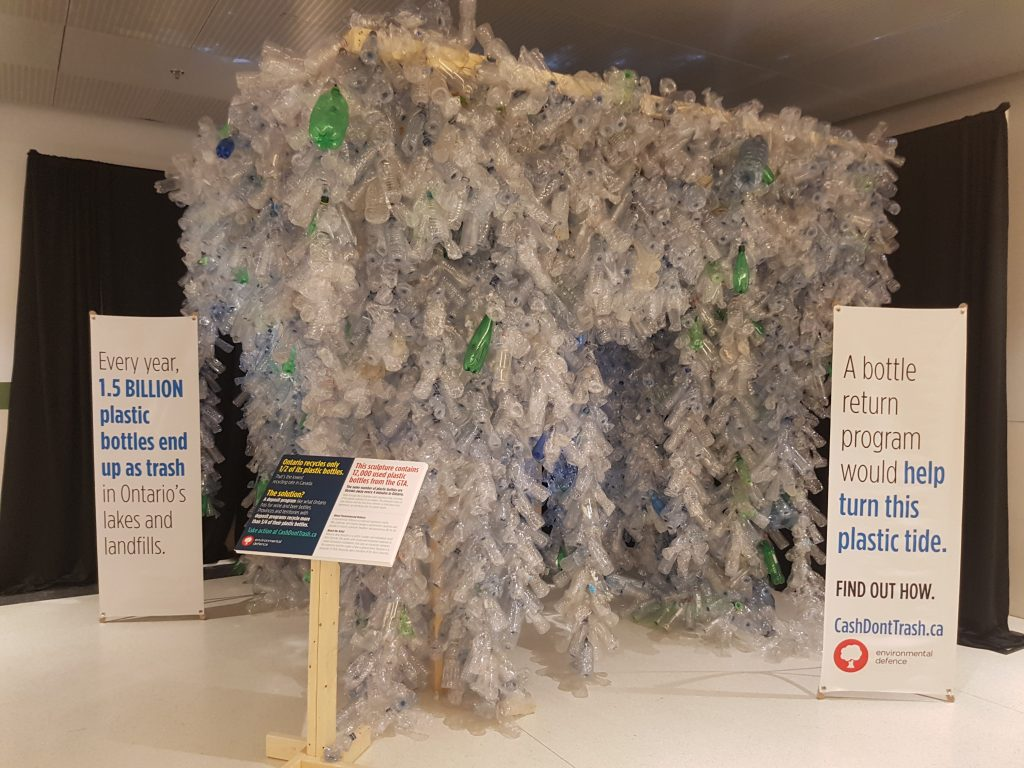 Environmental Defence plastic bottle sculpture at Union Station
