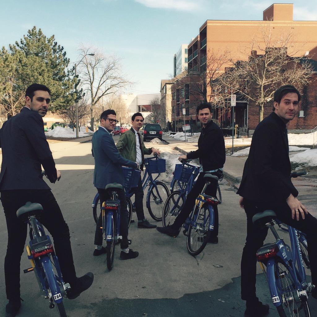 Arkells band members riding SoBi bikes to the Junos