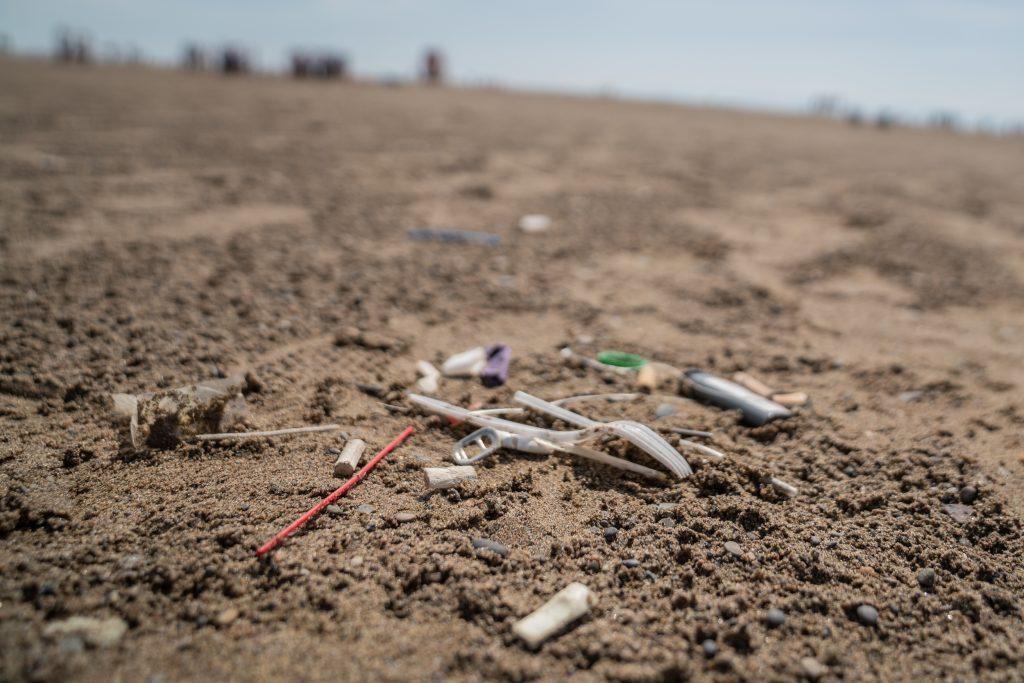 Bits of plastic littering the beach