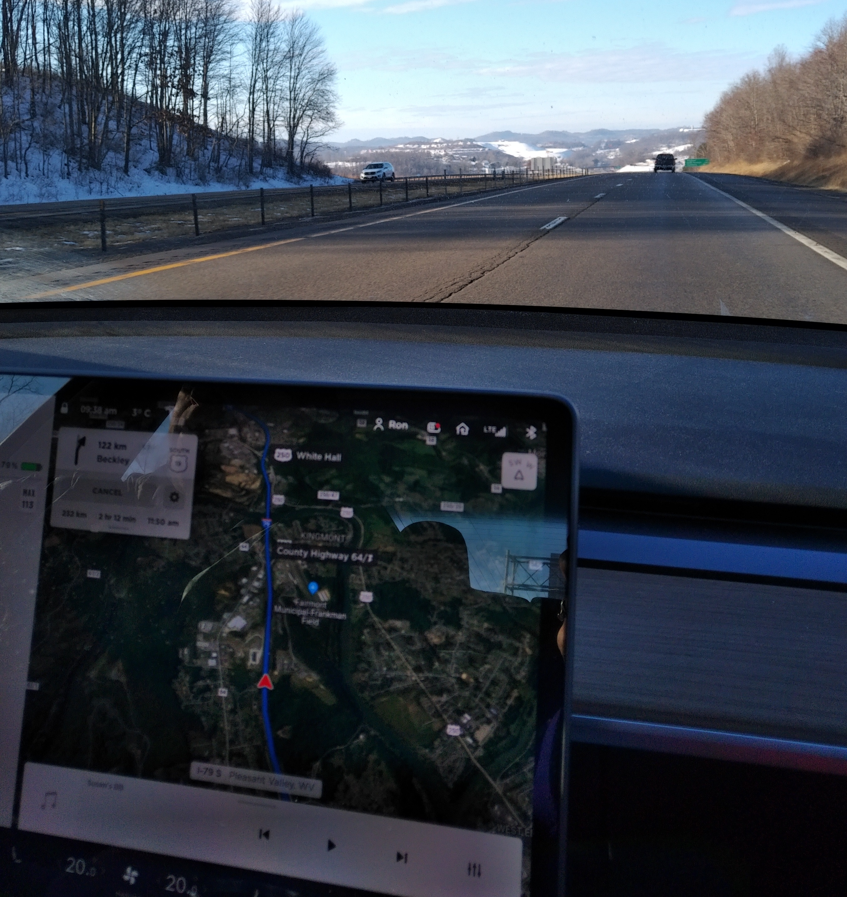 Tesla navigation screen with real time satellite image