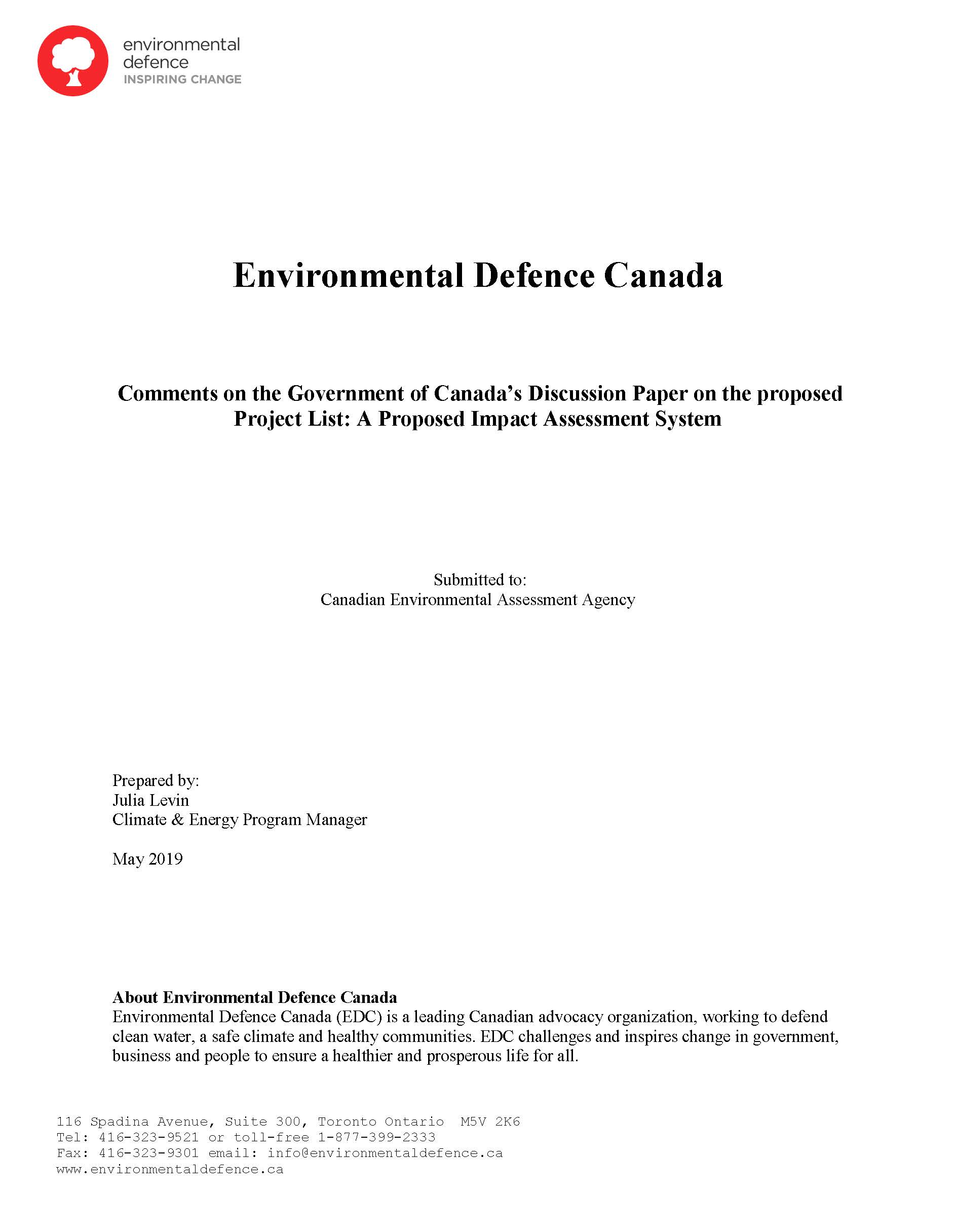 The cover of Environmental Defence's submission to the Canadian Environmental Assessment Agency on the Project List of Bill C-69