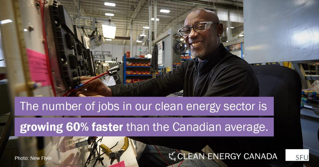 """An image of a smiling man at a worktable in a factory. The text reads """"The number of jobs in our clean energy sector is growing 60% faster than the Canadian average."""""""