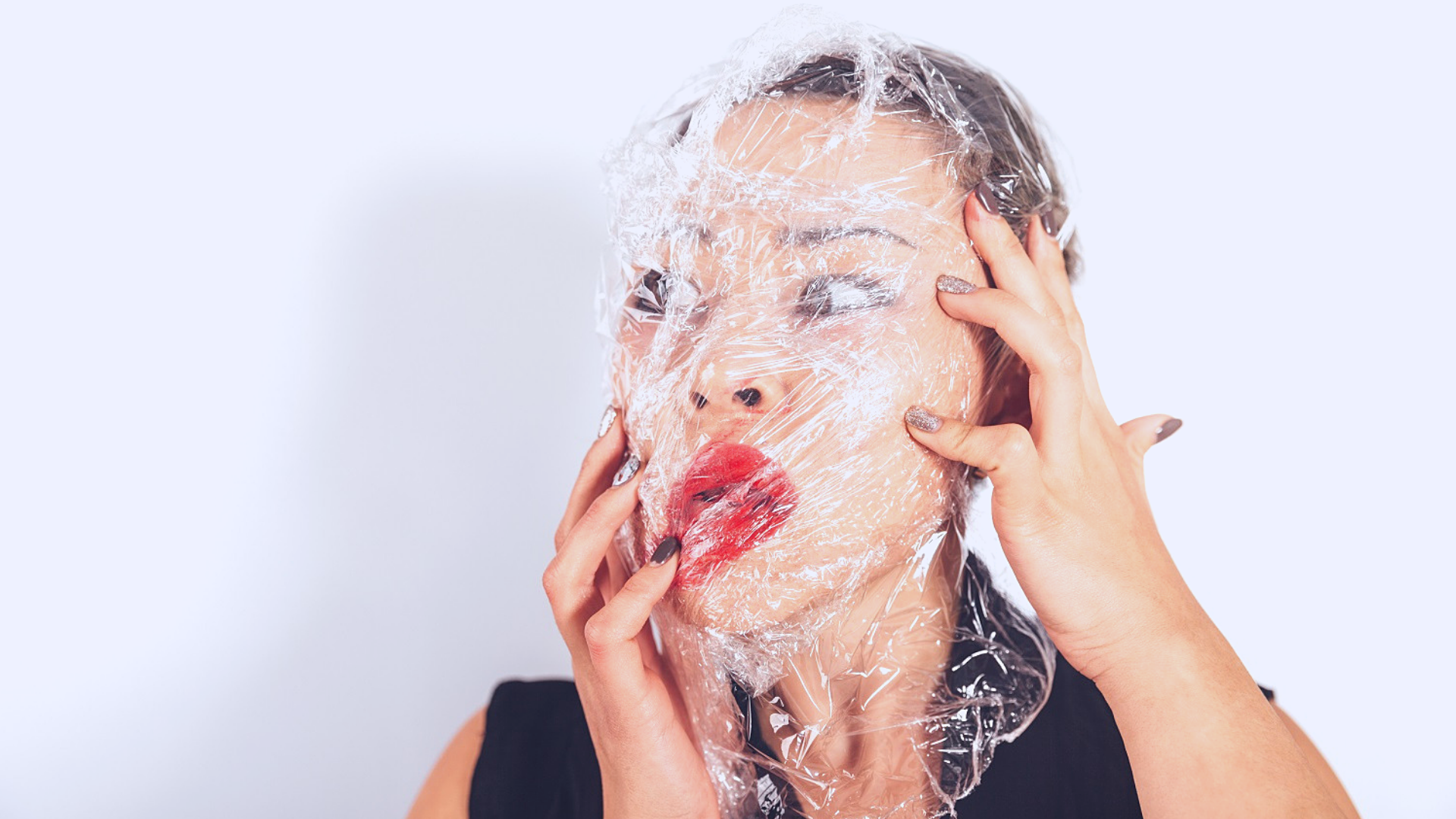 girl wrapped in plastic #plasticfreejuly