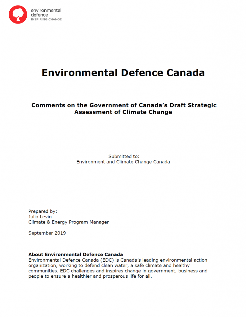 The cover of Environmental Defence's submission on the draft Strategic Assessment of Climate Change