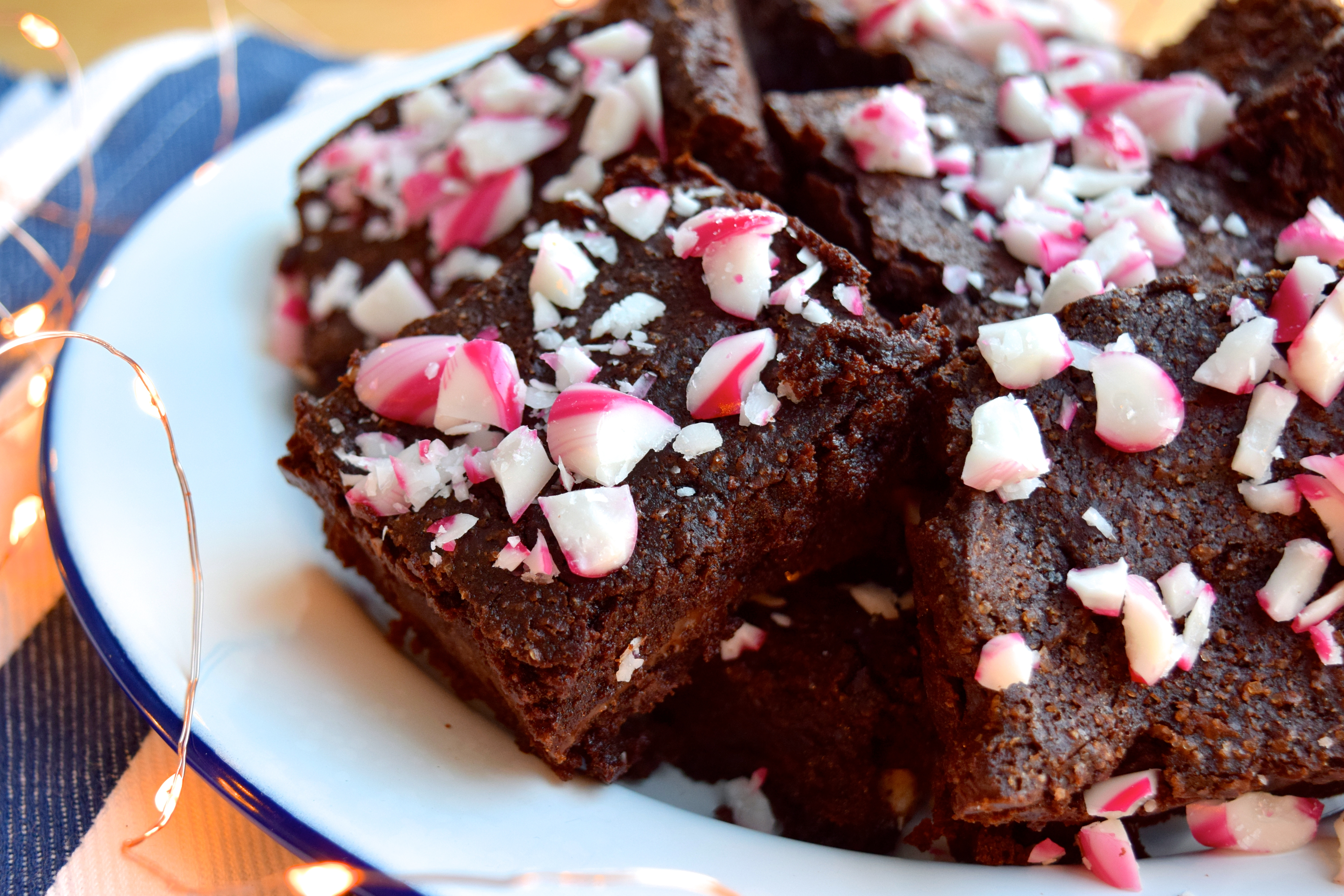 gift giving candy cane brownies