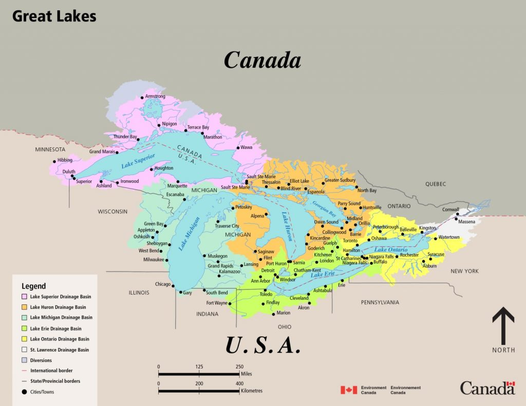 Great Lakes Drainage Basin Map. Source: Government of Canada