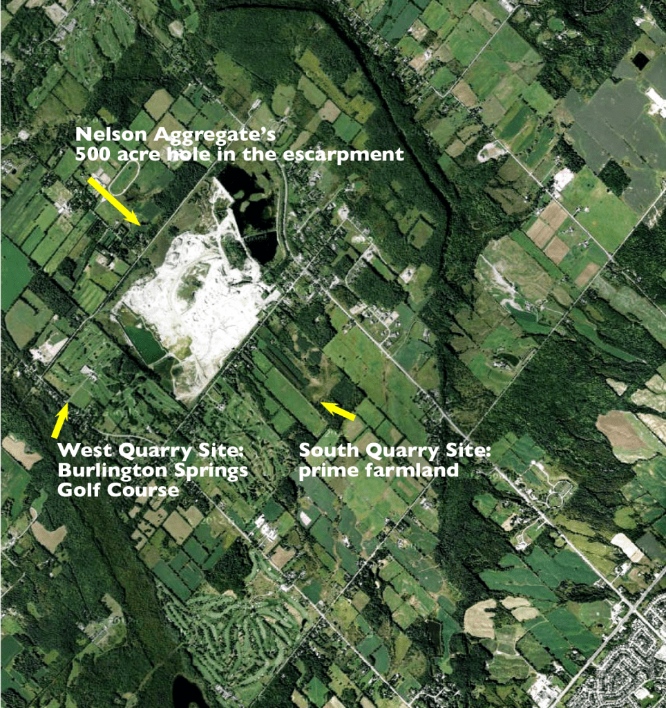 Location of the two proposed open-pit quarries on the Burlington Escarpment